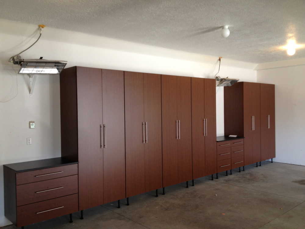 Quality pro garage cabinets cherry for Garage cabinets