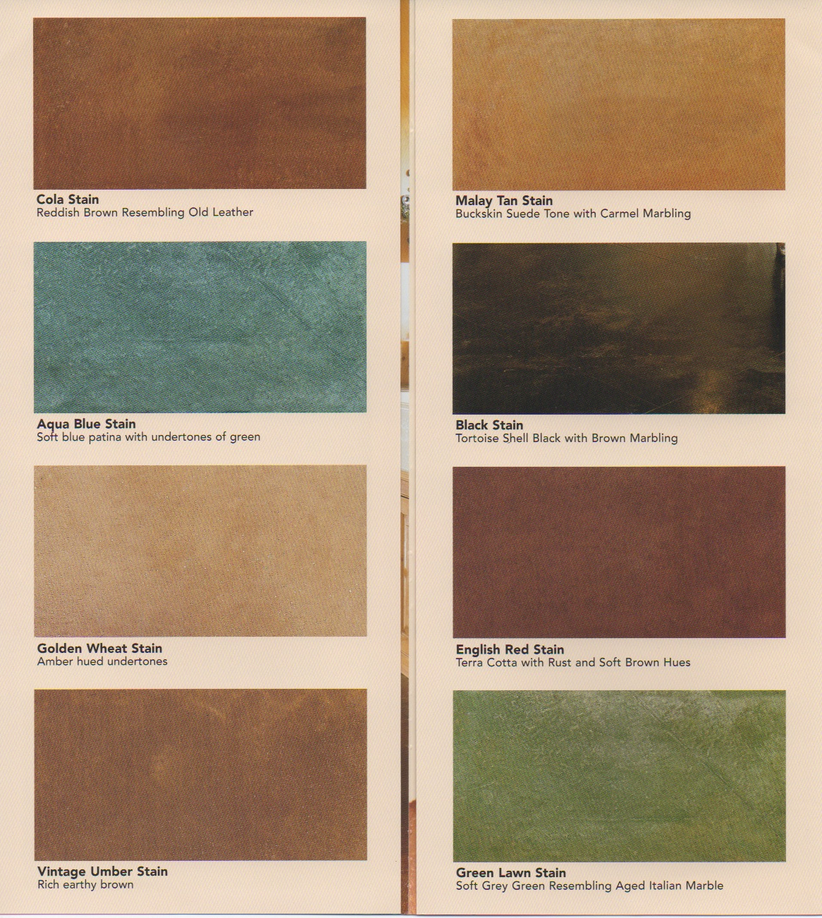Concrete Acid Stain Color Chart