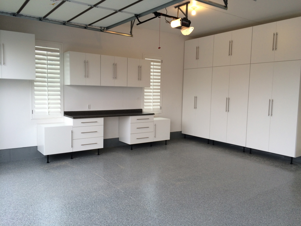 Garage Cabinets White Gray Floor
